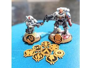 Warhammer 40k Kill Team Specialist Token Base Icons Magnetic