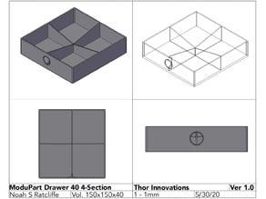 ModuPart Modular Parts Organizer - Drawer 40mm 4 Section