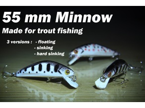 55 mm Minnow lure for trout fishing (stencils included)