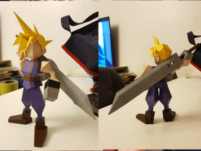 Posed Cloud Low Poly Final Fantasy 7 FF7 VII by Cestymour
