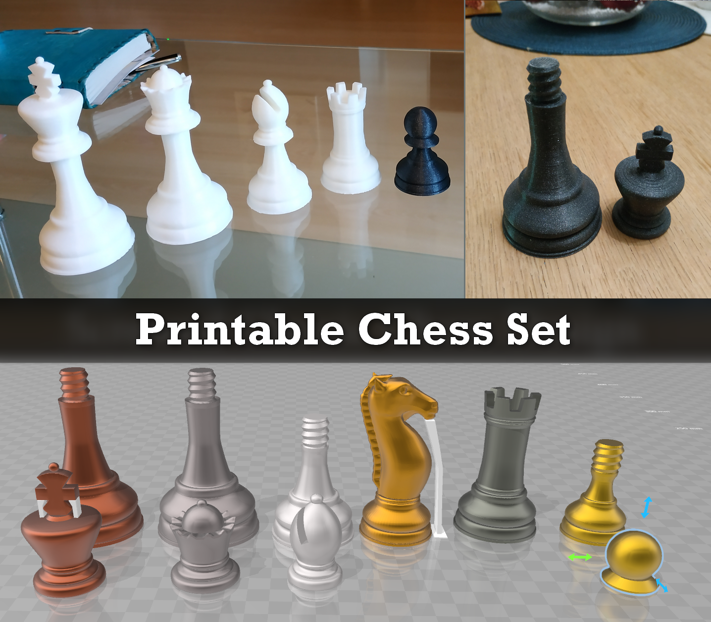 Printable Chess Set (no overhang)