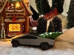 Tesla Cybertruck with Christmas Tree