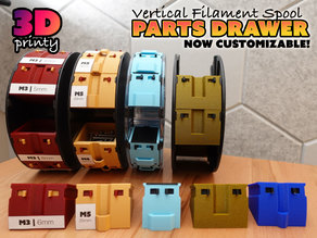 Vertical Filament Spool Parts Drawer (Customizable)