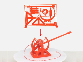 3D-printable Davinci catapult gift card