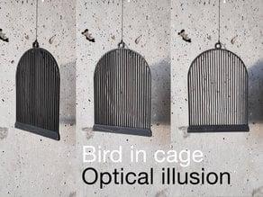 Bird in cage. Optical illusion