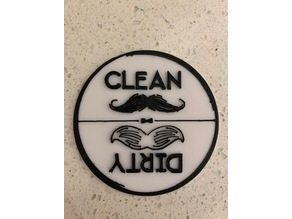 Dishwasher Clean Sign with Mustaches