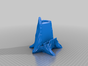 Low poly tree stump tablet stand