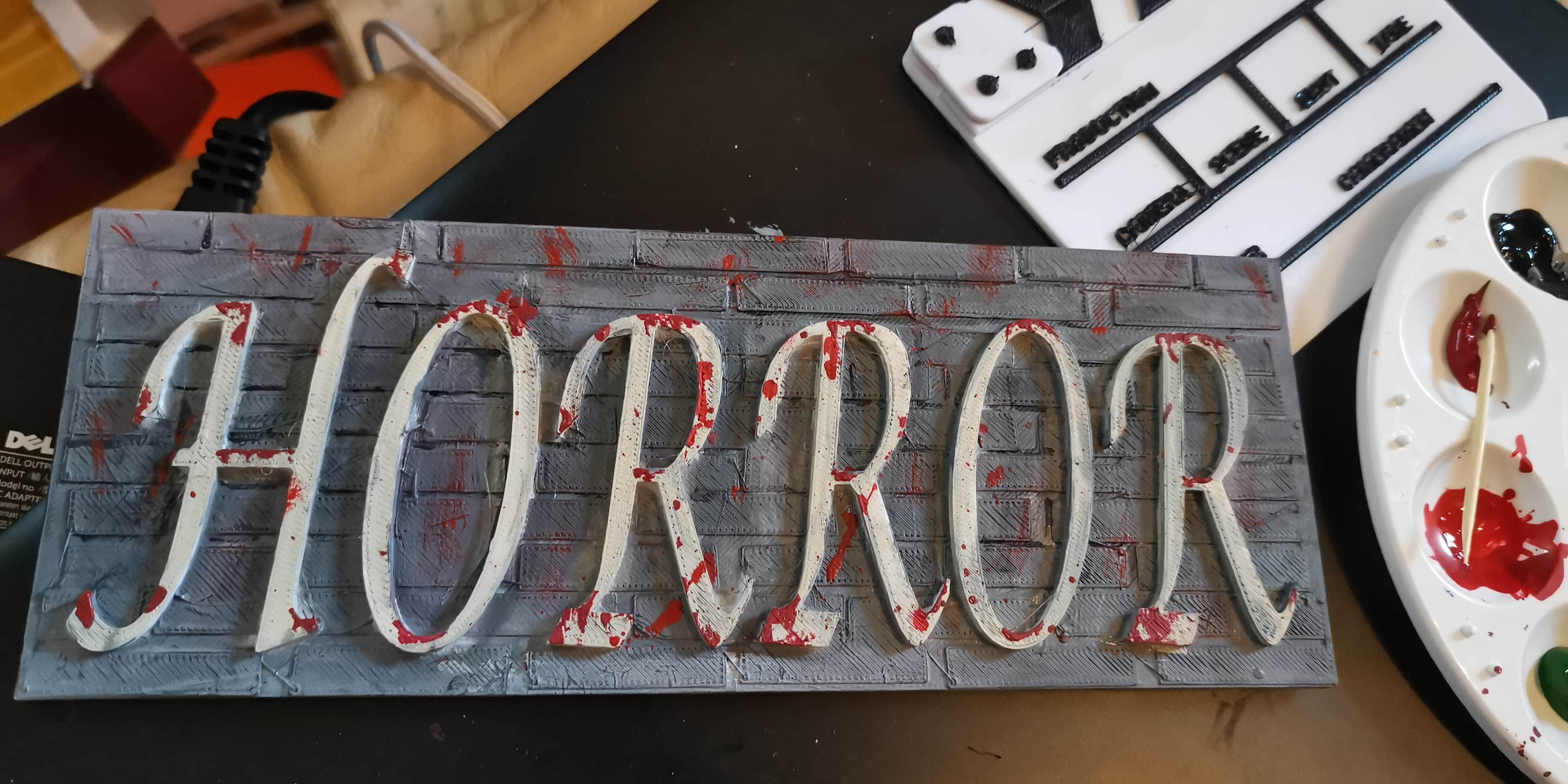 Horror word on wall background