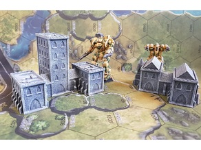 Gothic style Buildings for 6mm / 1:285 scale gaming sample
