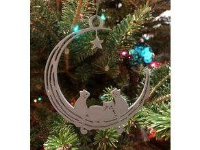 Moon and cats ornament