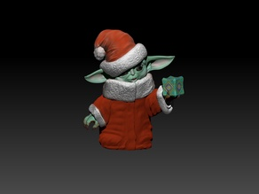 Santa Hat Baby Yoda with Holocron