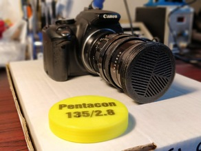 Lens cap with integrated Bahtinov mask for Pentacon 135/2.8 M42 lens