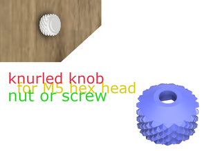 knurled knob for M5 hex head screw/nut