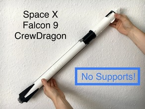 1:110 and 1:96 Space X Falcon 9 with Crew Dragon - No Supports - No Painting