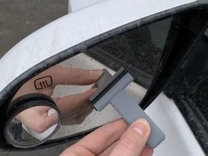Mini Car Mirror Squeegee Using Wiper Blades