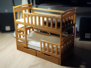 Bunk bed with two drawers, for dolls
