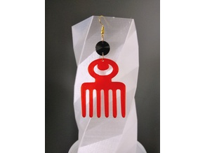 Boucle d'oreille Peigne Afro Adinkra Duafe / Earrings