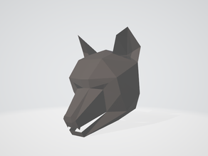 low poly fox paper mask