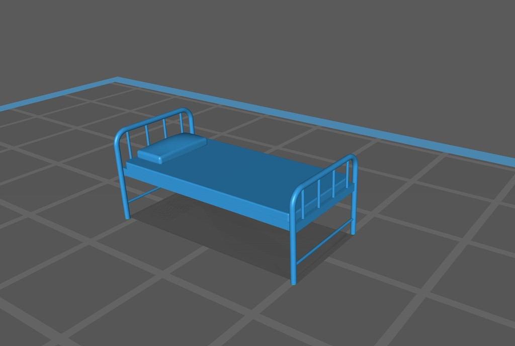 """Simple Hospital Bed 1:100 Scale (1/8"""" = 1'-0"""")"""