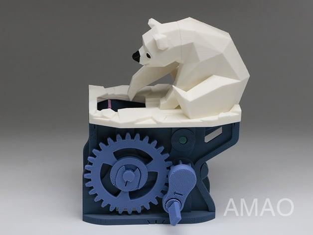 3d origami low polygon polar bear Royalty Free Vector Image   472x628