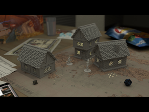 Medieval Houses with Lights 28mm
