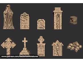Graveyard Decorations | Battle Yak Miniatures Patreon Sample