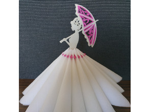 Lady with the umbrella. 3D quilling napkin holder.
