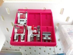 Sewing machine feet shelf for Ikea Skådis pegboard
