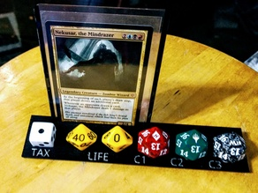 MTG EDH dice holder: Commander, Life, Commander Tax, and Damage