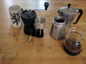 Hario Skerton grinder and Bialetti Filter holder