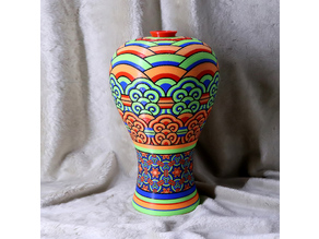 Korean traditional vase_Dancheong pattern (Multi color)