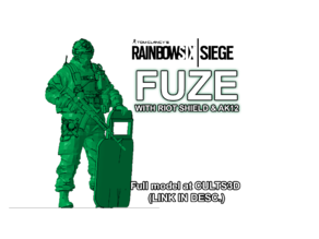 FUZE with shield and AK12 from Rainbow Six: Siege (inspired)