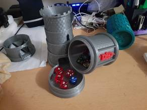 Collapsible dice tower with container