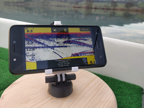 Stable  articulated phone support designed for boat fishing