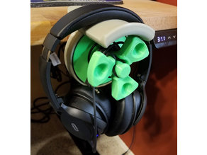 Headphone Holder with Cable Management Spool Table Mount Version - with STEP file