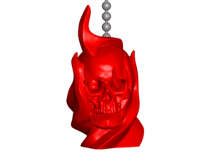 Flaming Skull Pull Ball Chain, Keychain Knob | Handle | Fob | Finials