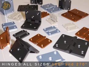 Hinges - All Purpose, 22 Sizes in 180° and 270°, Print-in-Place, Ready-to-Print