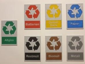 Recycling Symbole für Abfallbehälter