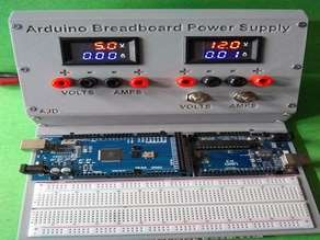 Arduino Mega and or Uno Prototyping Breadboard Holder and Power supply