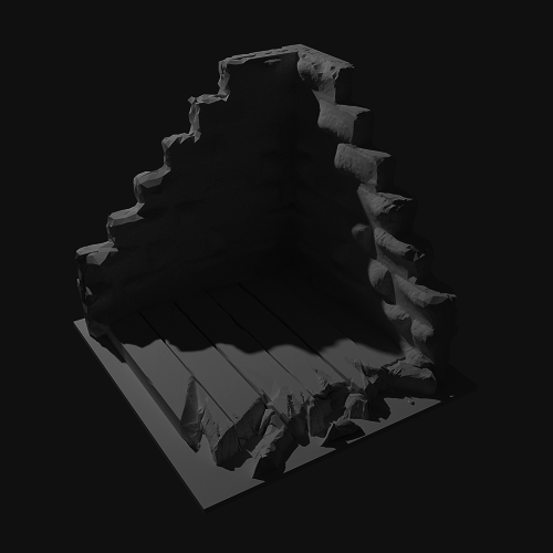 Destroyed wall terrain scaled for 28mm
