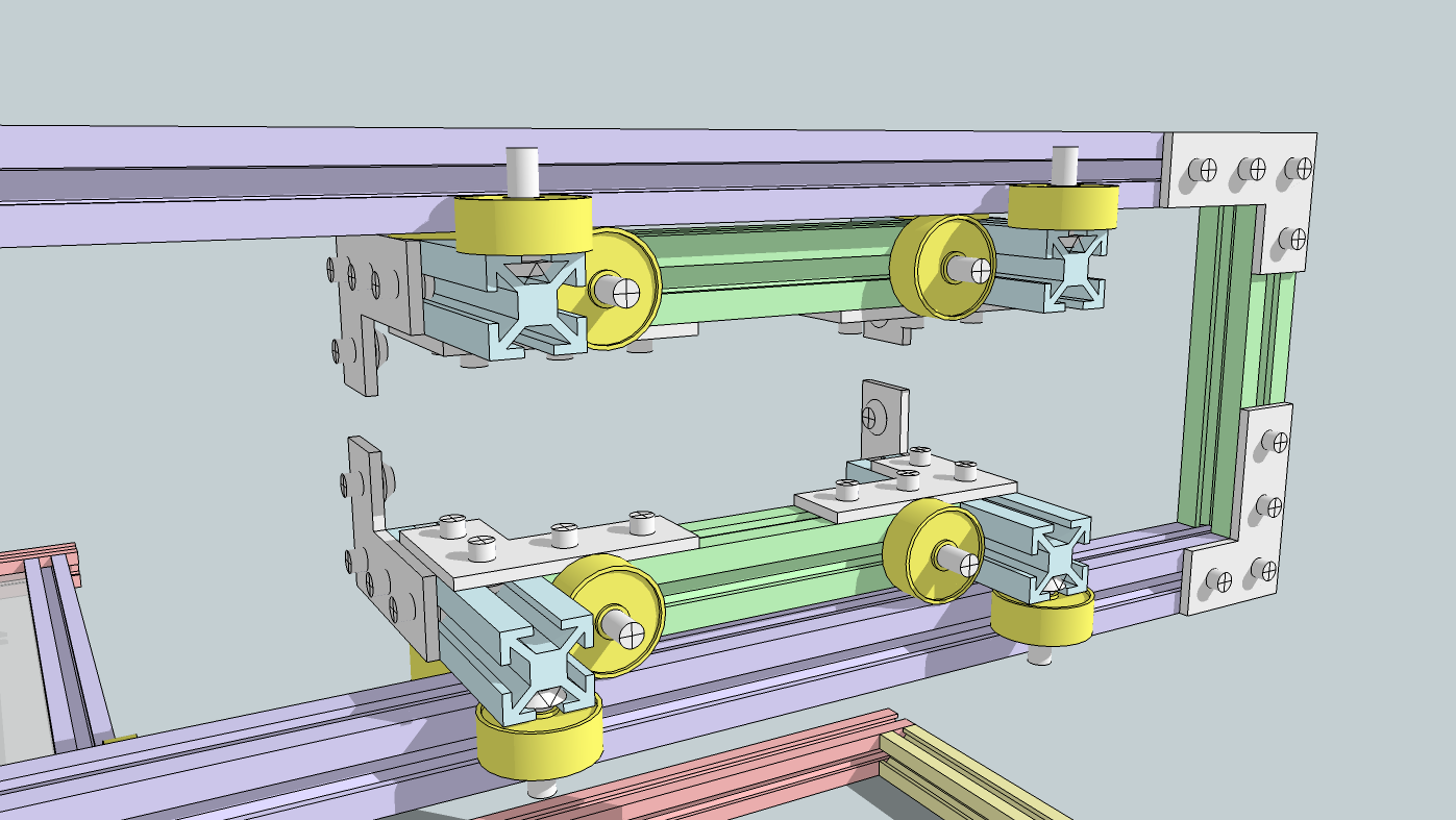 CNC-type frame made of makerbeam profile with two types of ball bearing