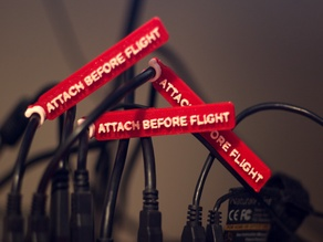 """Attach Before Flight"" cable tag for joystick/HOTAS"