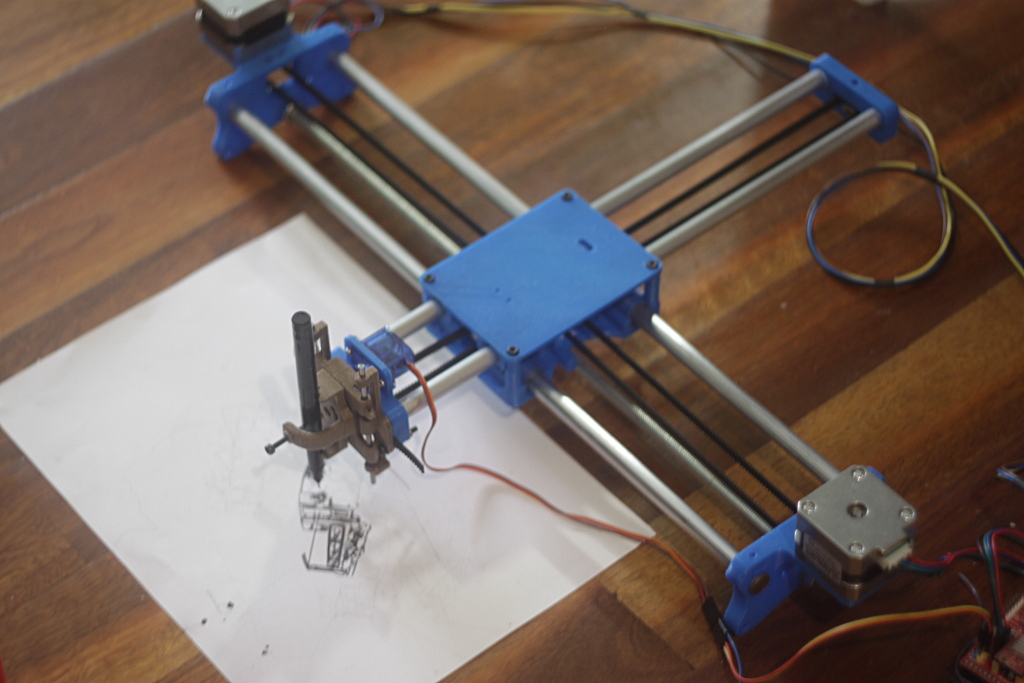 Drawing Robot - Arduino Uno + CNC Shield + GRBL by unclejeff