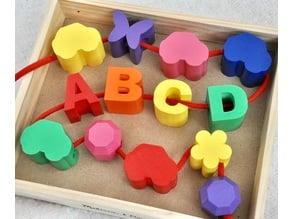 Large Alphabet and Shape Toy Lacing Beads
