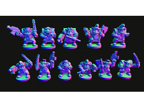 Small scale Space Orc infantry without helmets