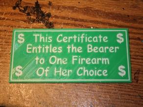 Firearm Gift Certificate