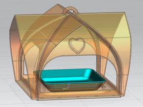 vassoio per mangiatoia per volatili con tetto curvo - tray for bird feeder with curved roof