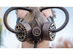 Steampunk Respirator/Gas Mask with Gear Filter Covers