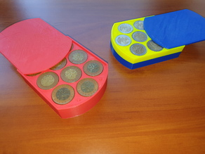Parametric Coin Box / Counter for Multiples of 10 Pieces, e.g., 100 Pieces