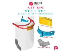 KIT EPI - Visor Facial + Filtro Facial ( COVID-19 ) - Impressão 3D
